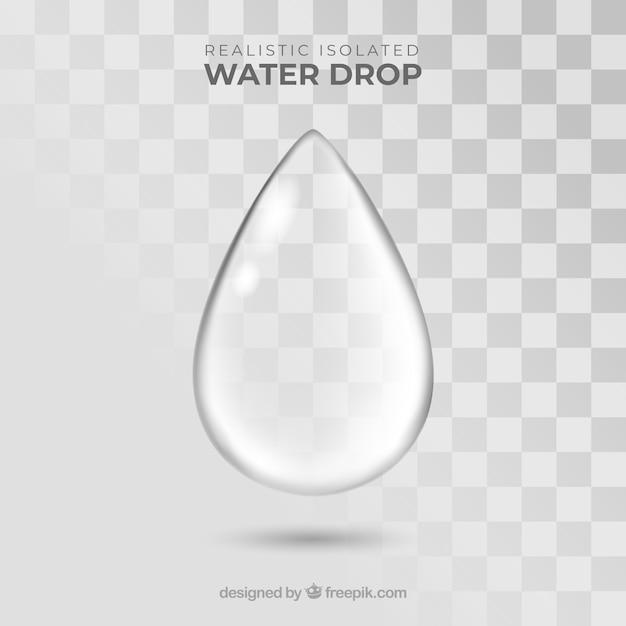 Goccia d'acqua senza sfondo in stile realistico Vettore gratuito