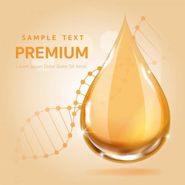 Goccia d'oro siero per il concetto di bellezza e cosmetici Vettore Premium