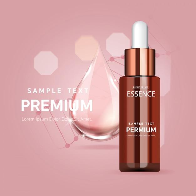 Goccia di siero rosa per il concetto di bellezza e cosmetica Vettore Premium