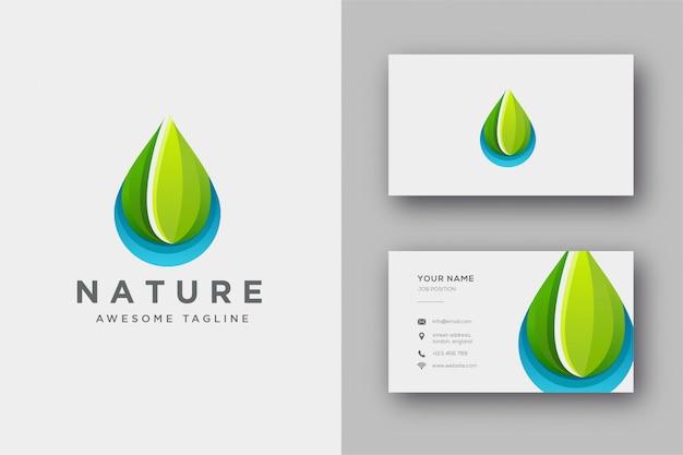 Gocciolina di logo della natura e modello di biglietto da visita Vettore Premium