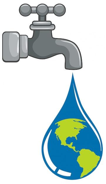 Gocciolina mondiale proveniente dal concetto di rubinetto Vettore gratuito