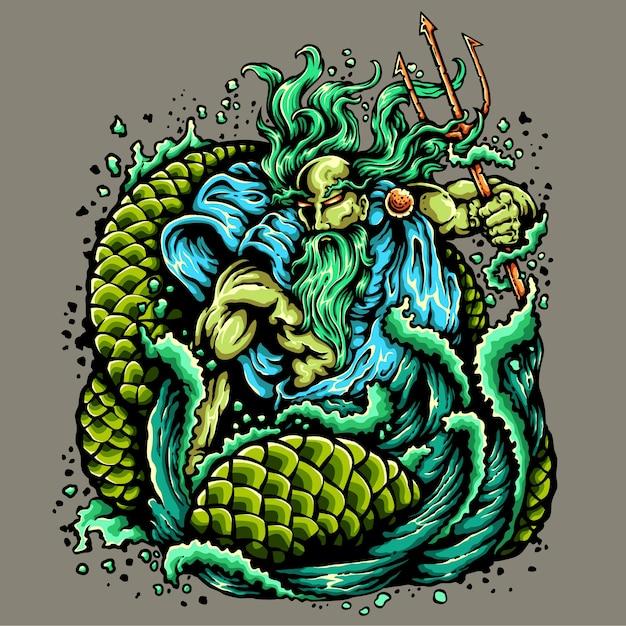 God of the ocean tattoo Vettore Premium