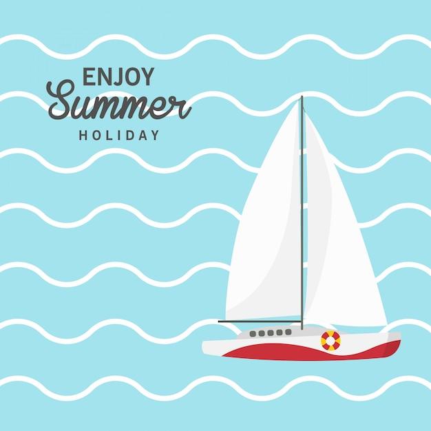 Godetevi le vacanze estive, barca a vela, nave, nave, yacht di lusso, motoscafo. Vettore Premium