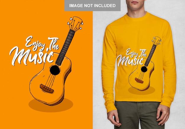 Goditi la musica, tipografia t-shirt design vettoriale Vettore Premium
