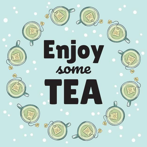 Goditi uno striscione di tè con tazze di tè verde Vettore Premium