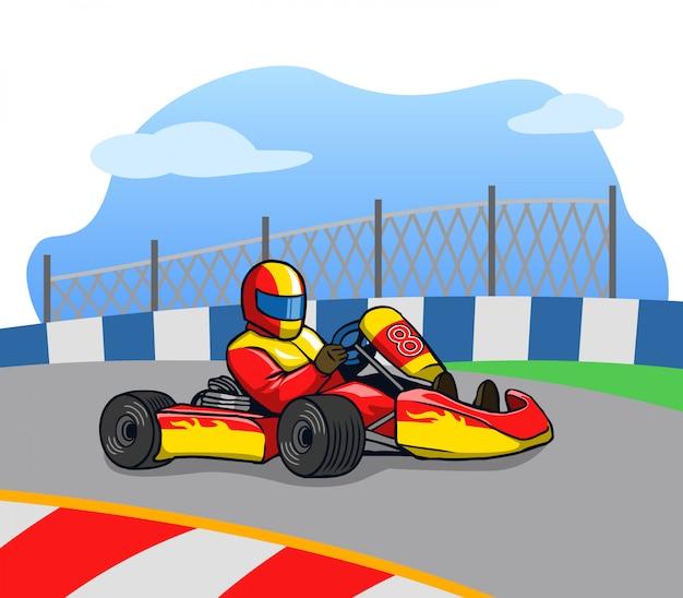 Gokart racer che corre così veloce in pista. Vettore Premium