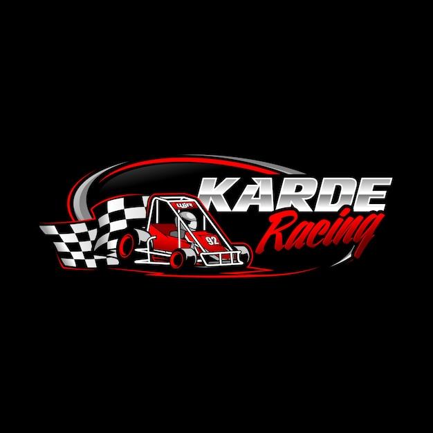 Gokart racing logo Vettore Premium