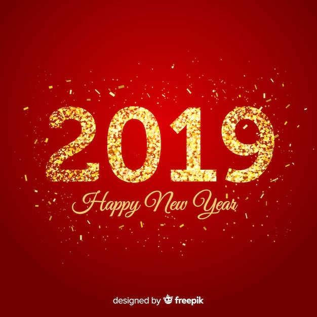 Gold new year background Vettore gratuito