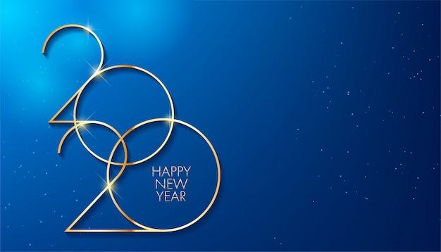 Golden 2020 capodanno. disegno di festa per biglietto di auguri Vettore Premium