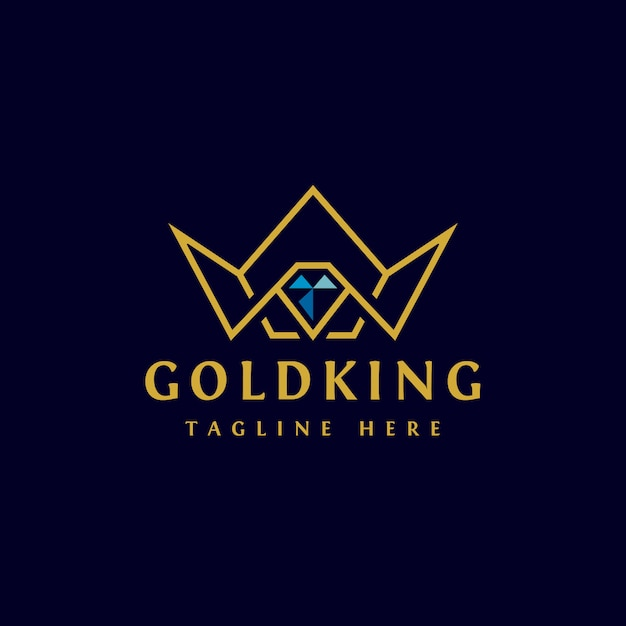 Golden crown logo design Vettore Premium
