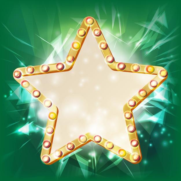 Golden star frame vector. elemento incandescente. stella con lampadine. cartello, cartellone bianco. illustrazione del cinema Vettore Premium