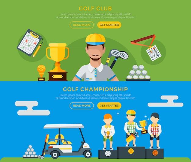 Golf club e banner di campionato Vettore gratuito