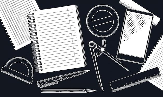 Goniometro e matita Vettore Premium