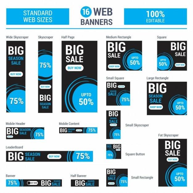 Google adsense blu grande sale banners Vettore gratuito