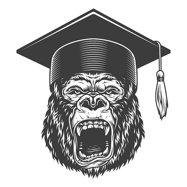 Gorilla arrabbiato in stile monocromatico Vettore gratuito