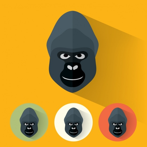 Gorilla disegna collezione Vettore gratuito
