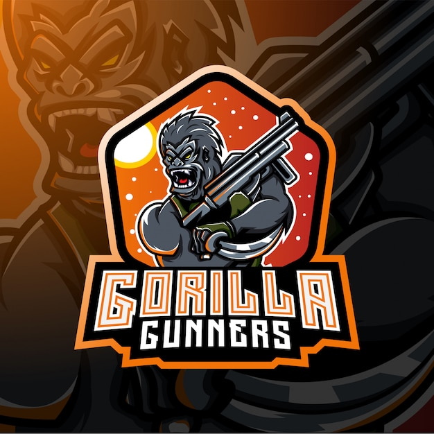 Gorilla gunners esport mascotte logo design Vettore Premium