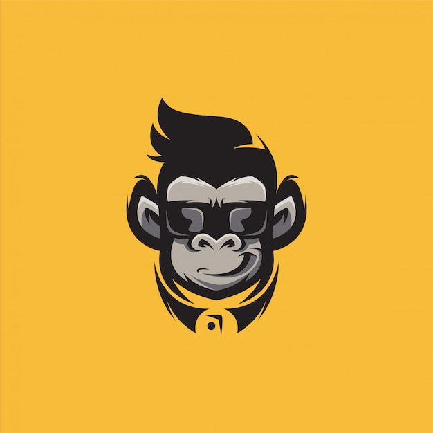 Gorilla logo design illustrazione vettoriale Vettore Premium