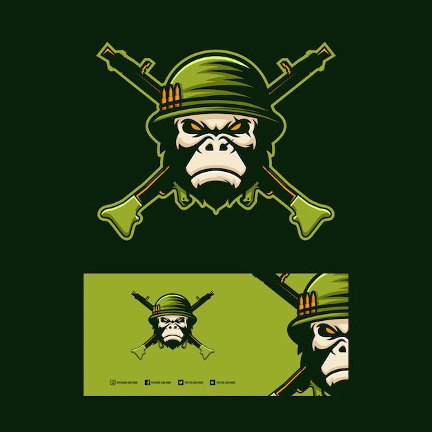 Gorilla soldier logo design. Vettore Premium