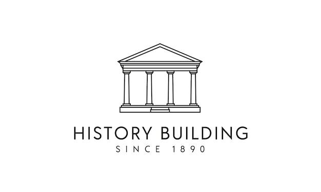 Governo / colonne costruzione storica logo design Vettore Premium