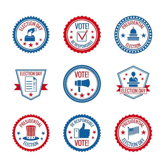 Governo e elezioni presidenziali e le etichette di voto impostato con simboli di costruzione della città capitol isolato illustrazione vettoriale Vettore gratuito