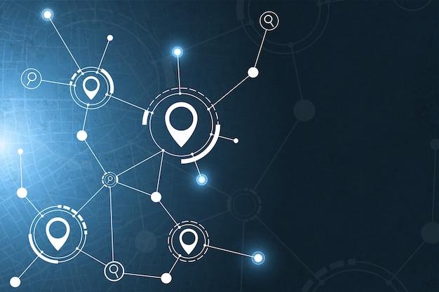 Gps e priorità bassa astratta di tecnologia dell'icona di ricerca. Vettore Premium