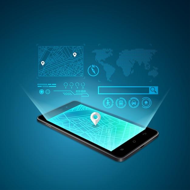 Gps mobile Vettore Premium