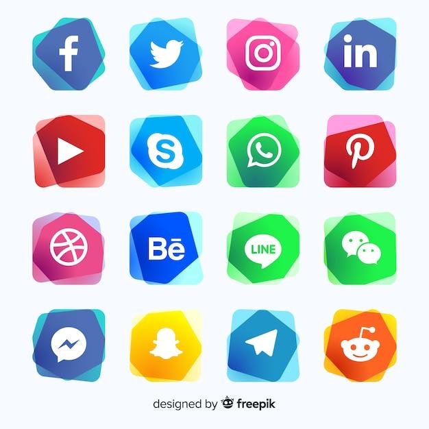Gradient social media logo collectio Vettore gratuito
