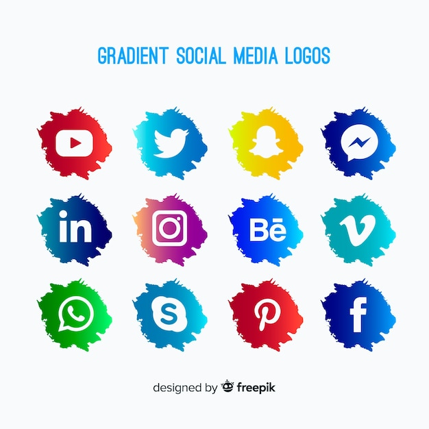 Gradient social media logo collectio Vettore gratuito