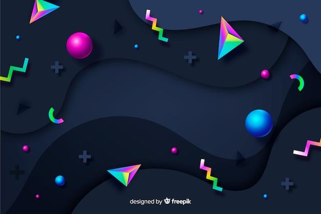Gradiente 3d forme di sfondo Vettore gratuito