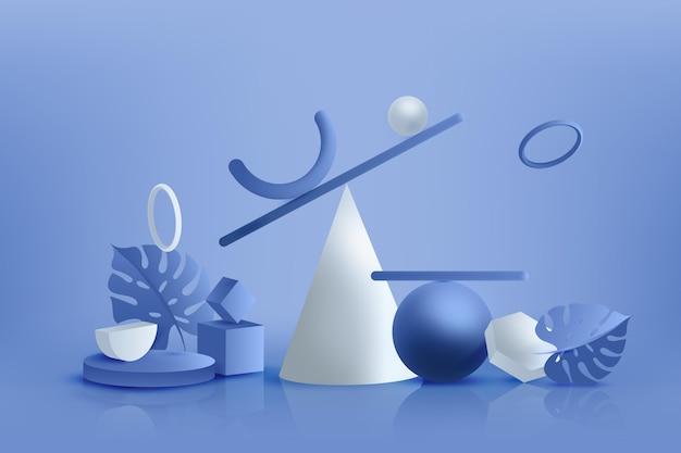 Gradiente blu 3d forme geometriche sullo sfondo Vettore gratuito