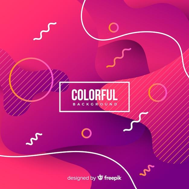 Gradiente colorato sfondo di forme fluide Vettore gratuito