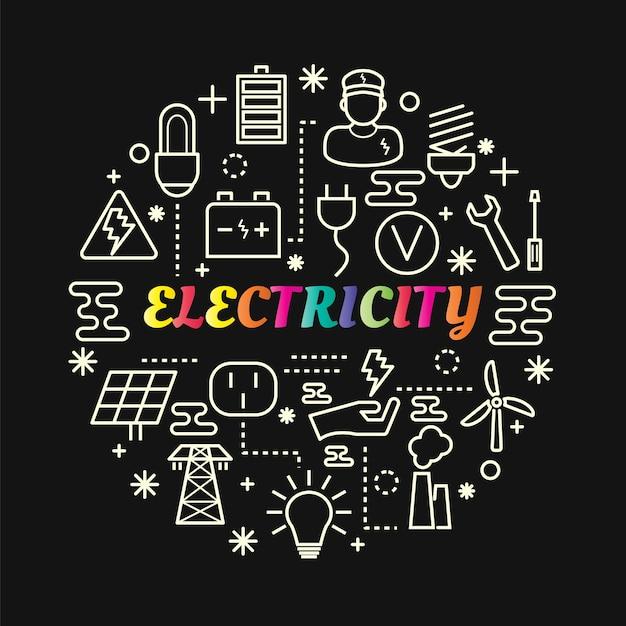 Gradiente di elettricità colorata con set di icone di linea Vettore Premium