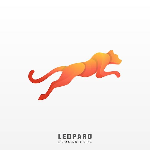 Gradiente impressionante logo leopardo Vettore Premium