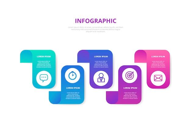 Gradiente infografica con passaggi Vettore gratuito
