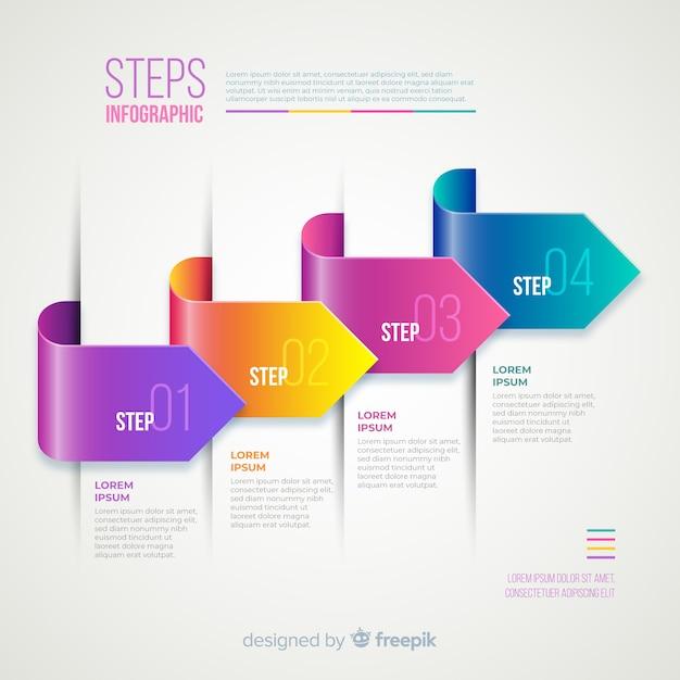 Gradiente realistico infografica passo colorato Vettore gratuito