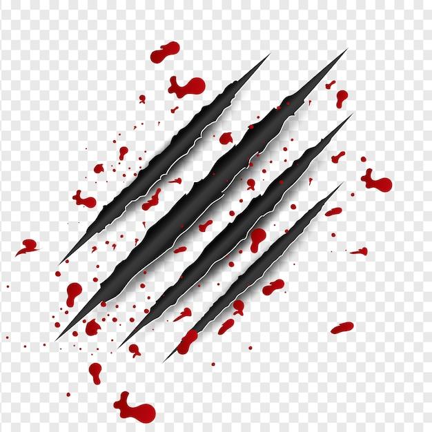 Graffi di artigli con sangue rosso Vettore Premium