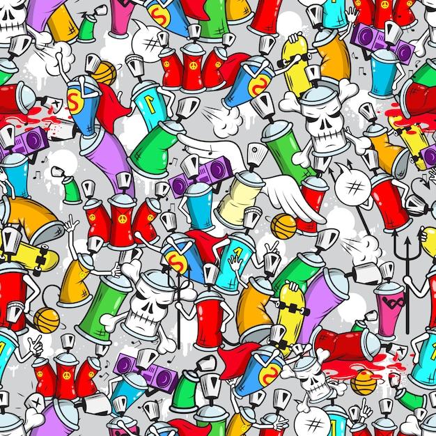 Graffiti personaggi senza cuciture Vettore Premium
