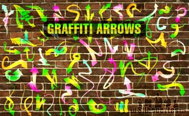 Graffiti vettore frecce silhouettes Vettore gratuito