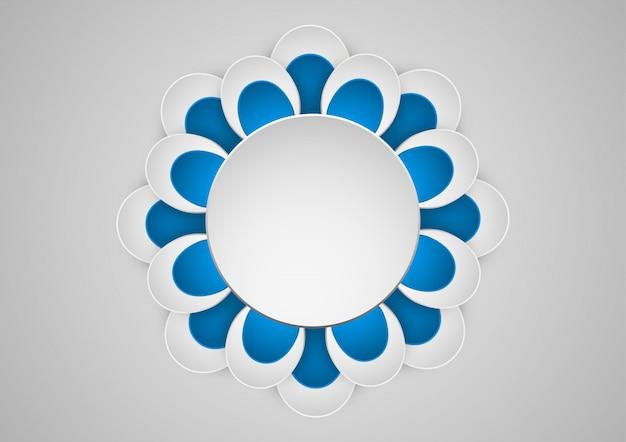 Grafica di carta di arte geometrica di fiori. banner con cornice rotonda. Vettore Premium