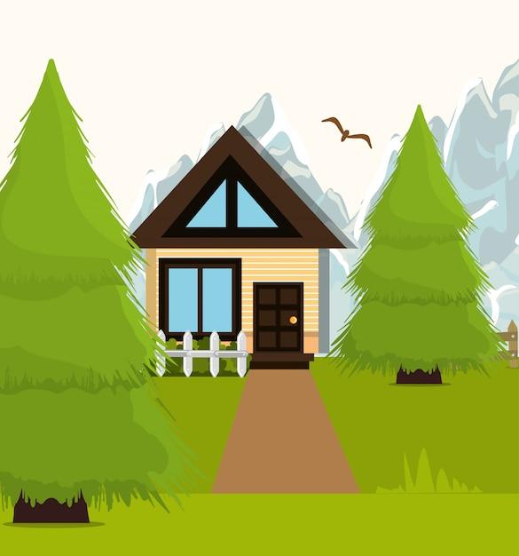 Grafica di cartone animato paesaggio domestico Vettore gratuito