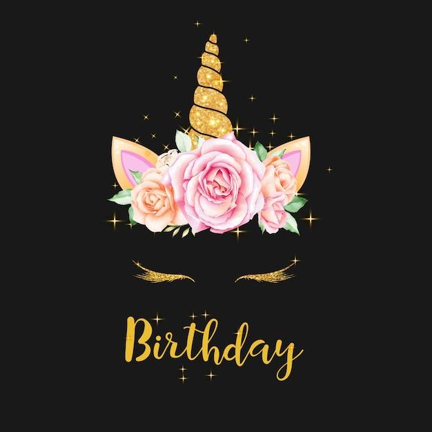 Grafica di unicorno carino con ghirlanda di fiori e glitter oro Vettore Premium