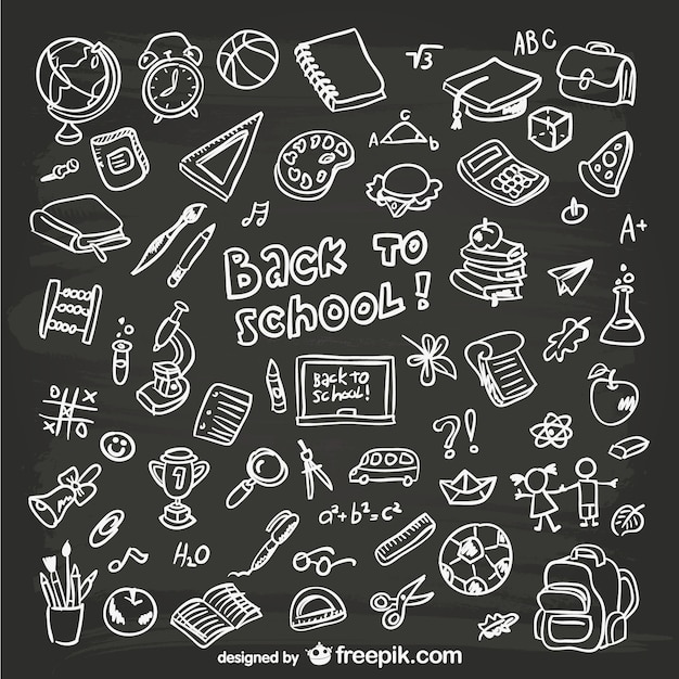 Grafica disegnata a mano scolastici Vettore gratuito