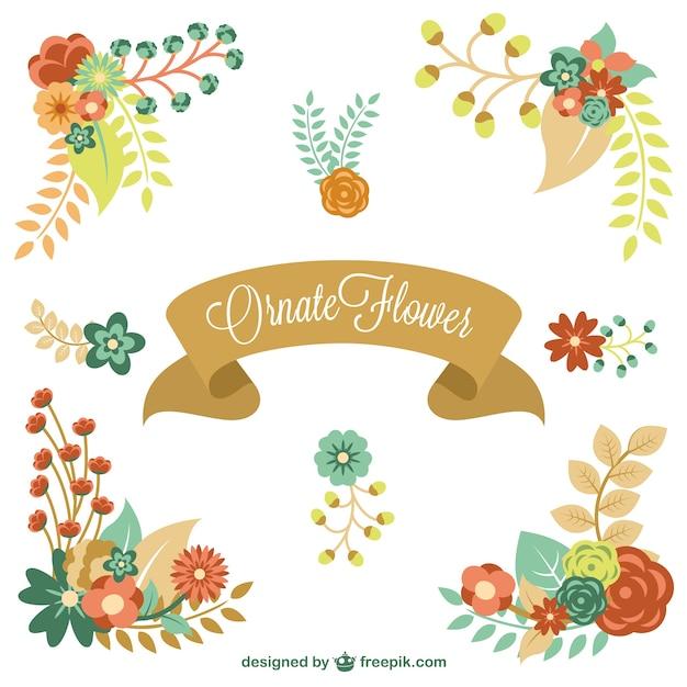 Grafica elementi floreali vettoriale Vettore gratuito