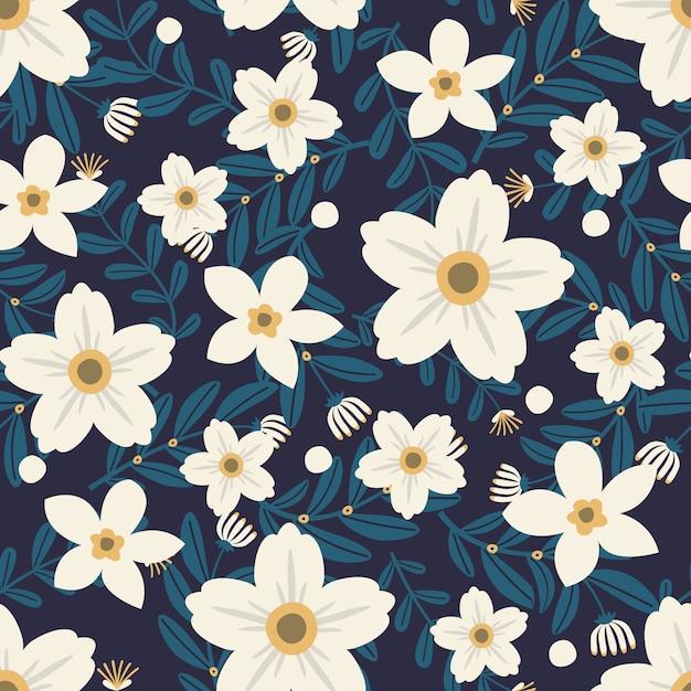 Grafica floreale per abbigliamento e tessuti moda, ghirlanda di fiori bianchi stile edera con ramo e foglie. sfondo di modelli senza soluzione di continuità. Vettore Premium