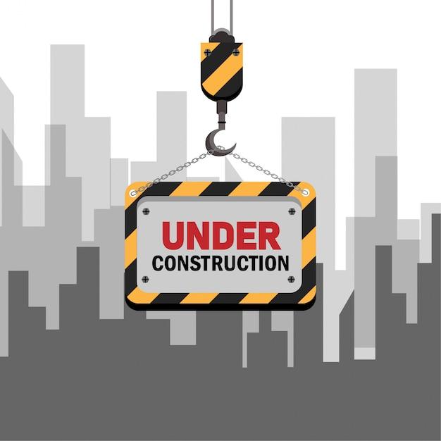 Grafica in costruzione per sito web Vettore Premium