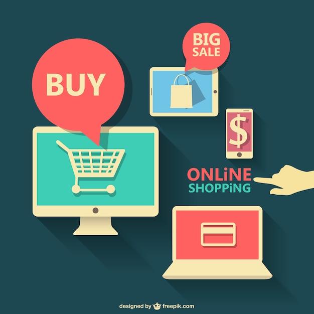 Grafica piatto di shopping on-line Vettore gratuito