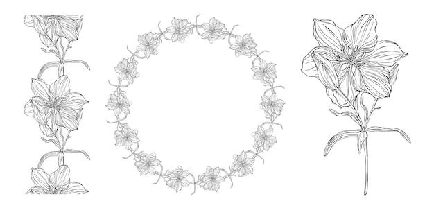Grafica vettoriale di una composizione floreale Vettore Premium