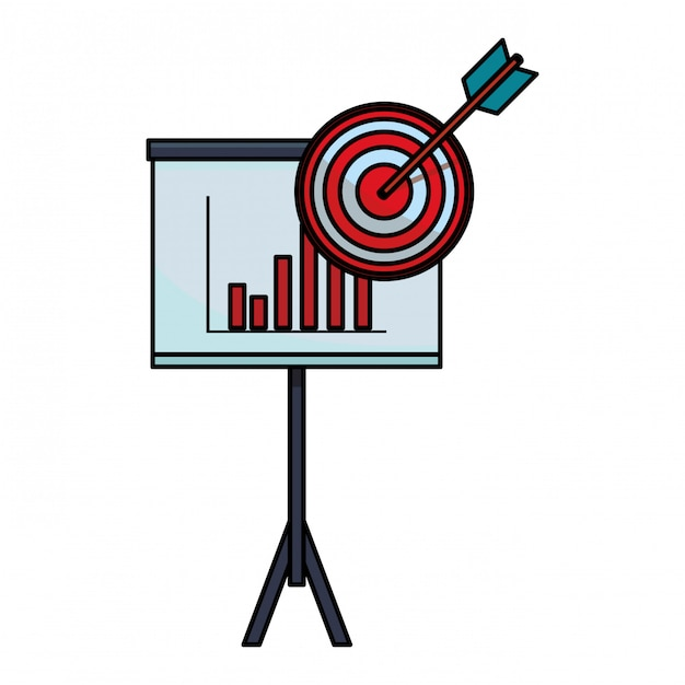 Grafici commerciali sulla lavagna con destinazione Vettore Premium