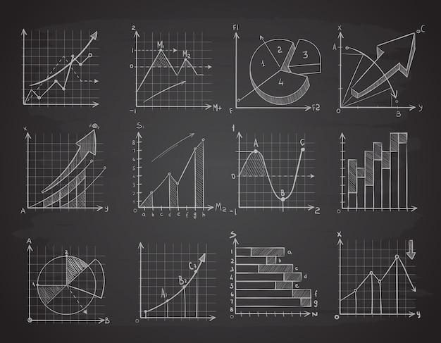 Grafici di dati di statistiche aziendali di disegno a mano Vettore Premium